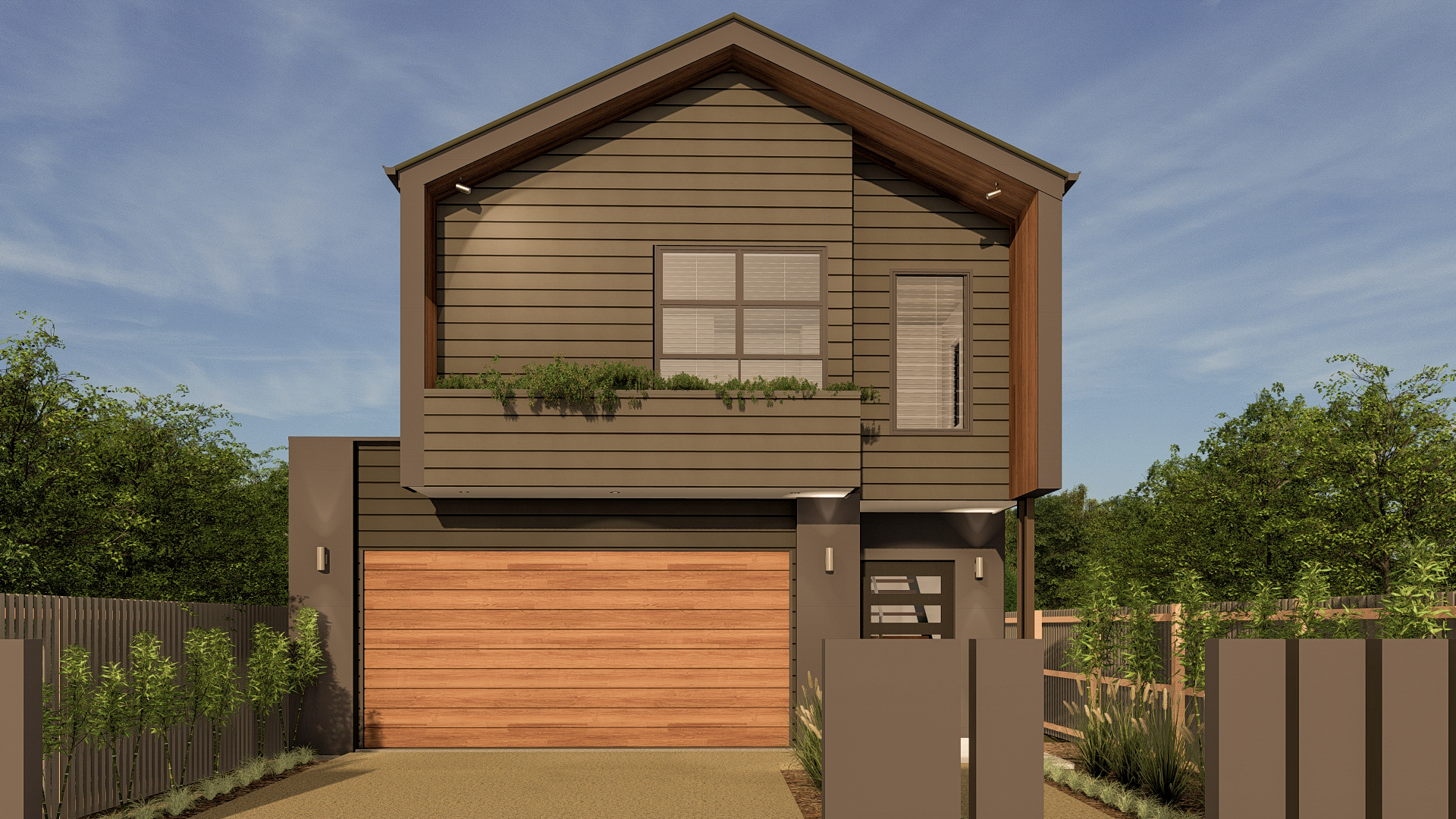 small lot home facade